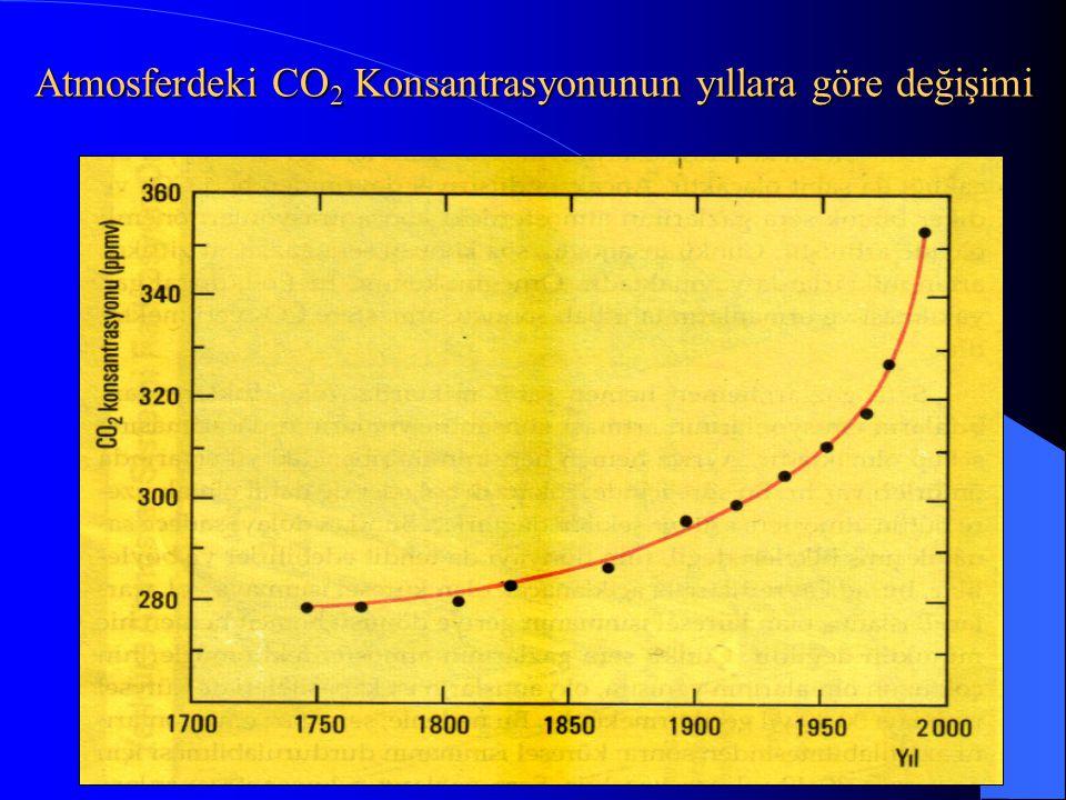 Atmosferdeki CO2 Konsantrasyonunun yıllara göre değişimi