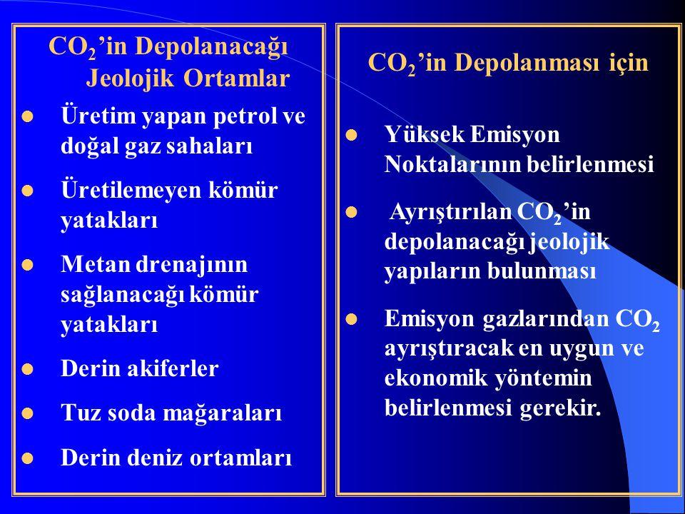 CO2'in Depolanacağı Jeolojik Ortamlar CO2'in Depolanması için