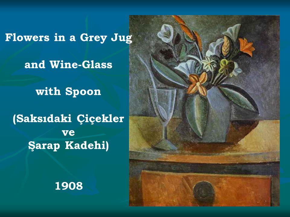 Flowers in a Grey Jug and Wine-Glass with Spoon (Saksıdaki Çiçekler ve Şarap Kadehi) 1908