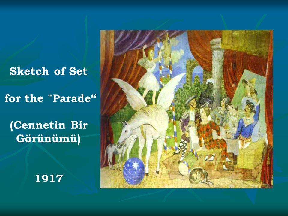 Sketch of Set for the Parade (Cennetin Bir Görünümü) 1917