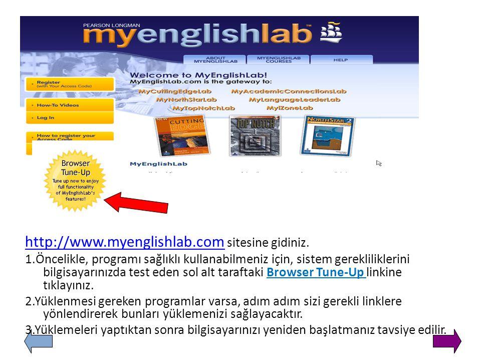 http://www.myenglishlab.com sitesine gidiniz.