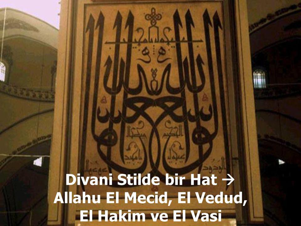 Divani Stilde bir Hat  Allahu El Mecid, El Vedud, El Hakim ve El Vasi