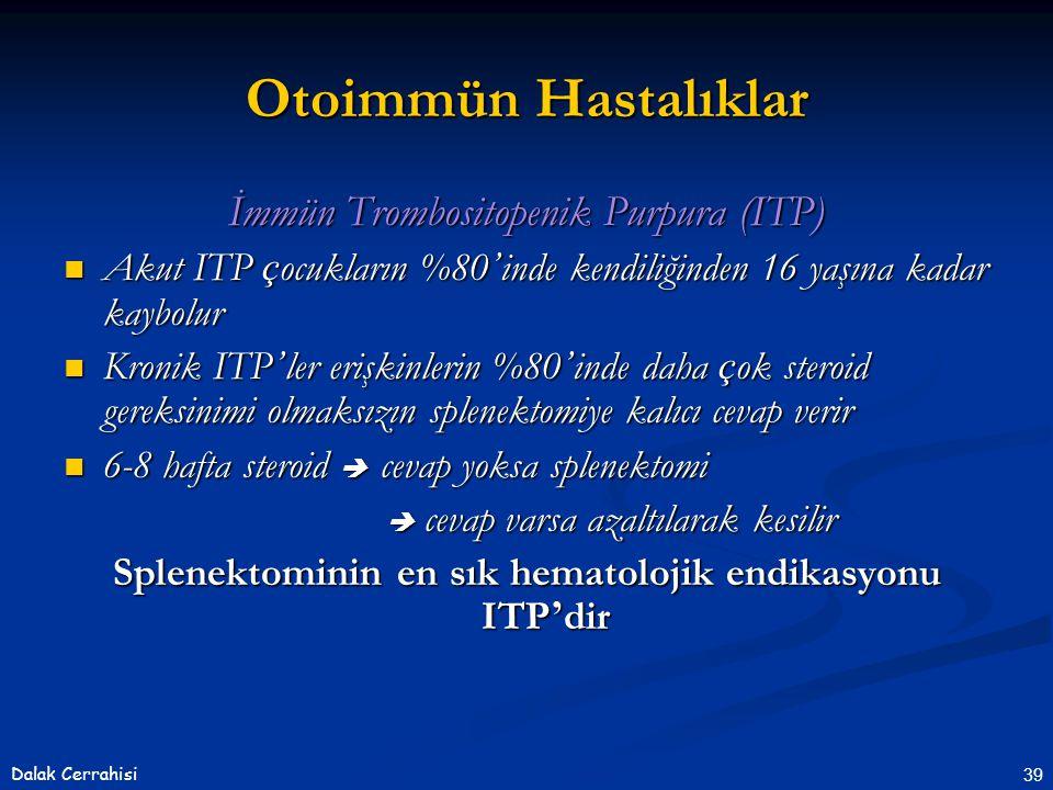 Splenektominin en sık hematolojik endikasyonu ITP'dir