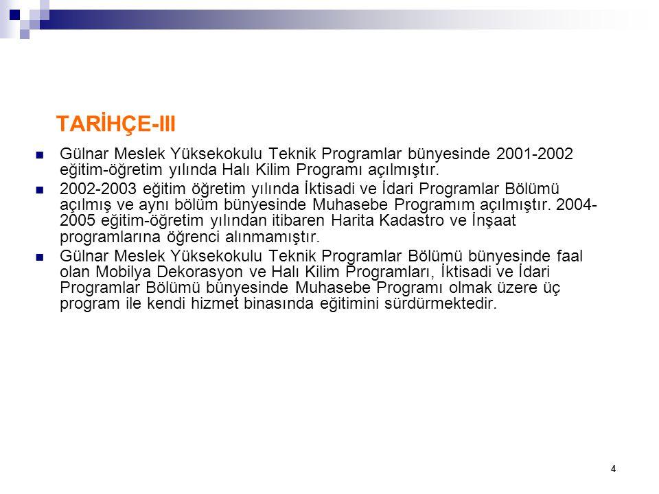TARİHÇE-III Gülnar Meslek Yüksekokulu Teknik Programlar bünyesinde 2001-2002 eğitim-öğretim yılında Halı Kilim Programı açılmıştır.