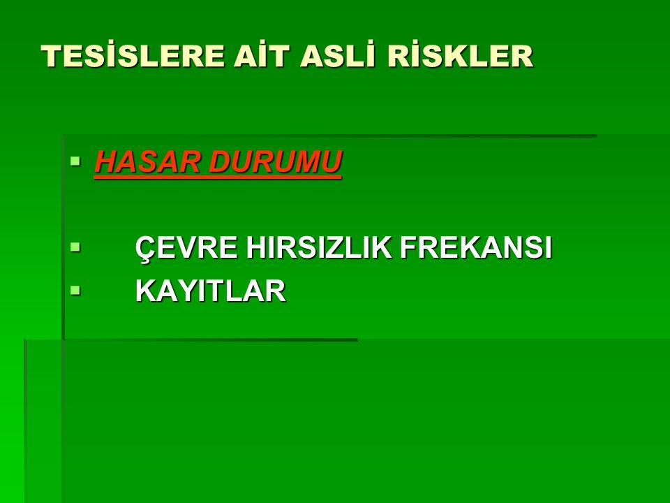 TESİSLERE AİT ASLİ RİSKLER