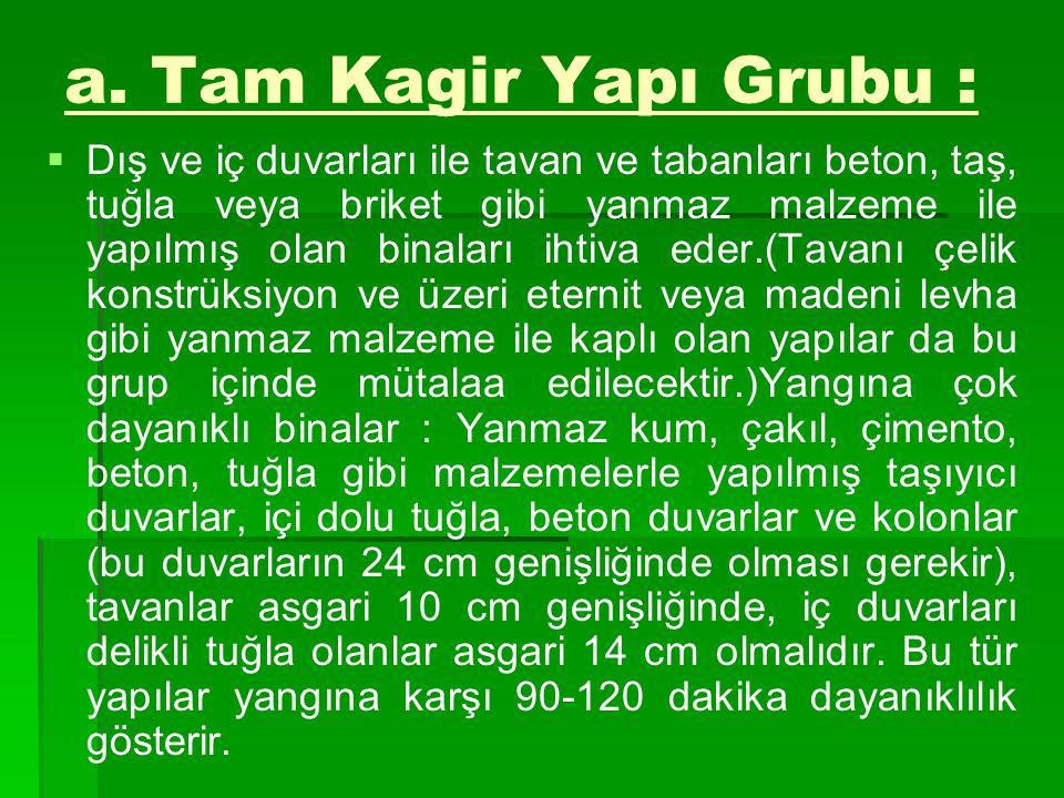 a. Tam Kagir Yapı Grubu :