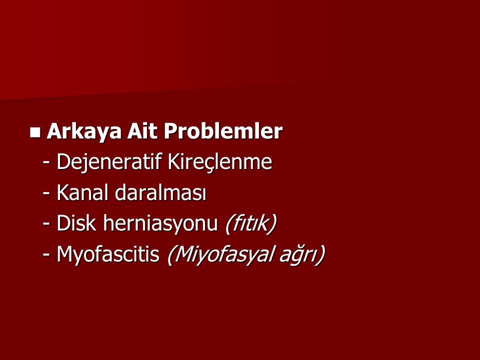 Arkaya Ait Problemler - Dejeneratif Kireçlenme. - Kanal daralması.