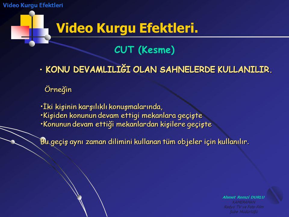 Video Kurgu Efektleri. CUT (Kesme)