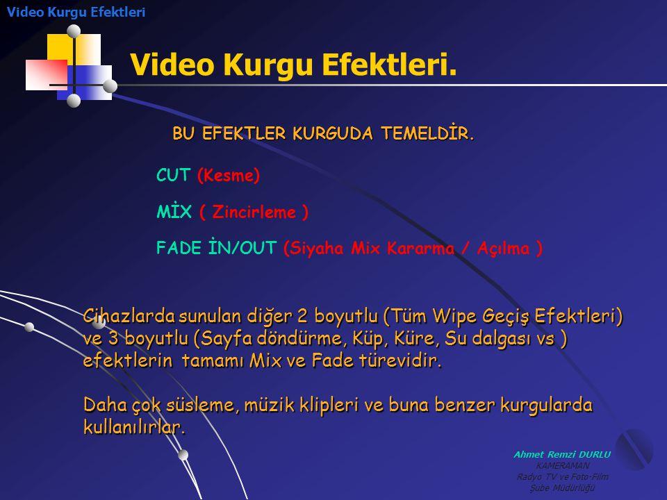 Video Kurgu Efektleri Video Kurgu Efektleri. BU EFEKTLER KURGUDA TEMELDİR. CUT (Kesme) MİX ( Zincirleme )