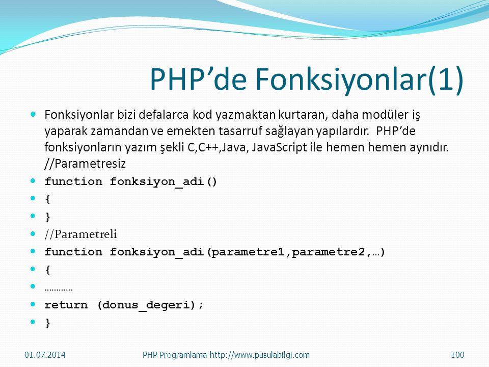 PHP'de Fonksiyonlar(1)