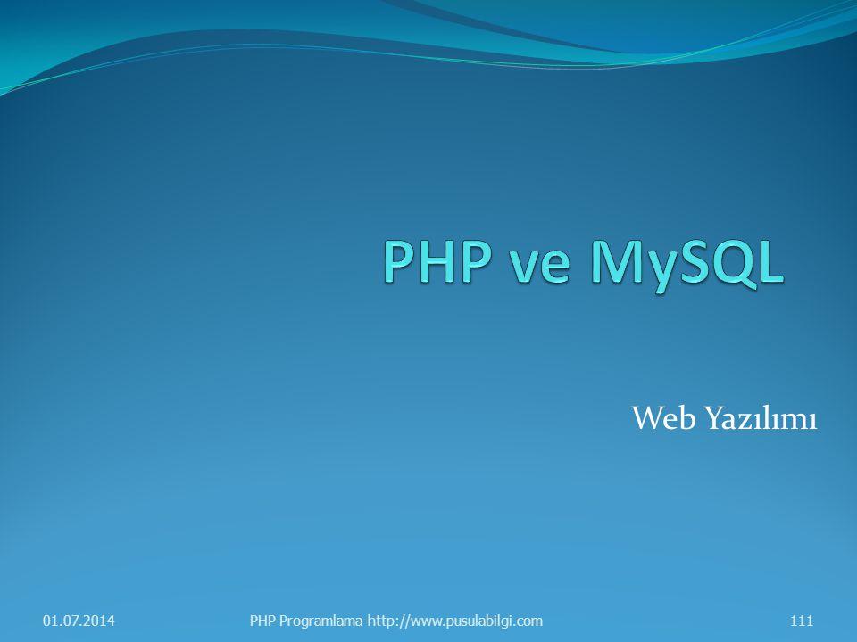 PHP ve MySQL Web Yazılımı 03.04.2017