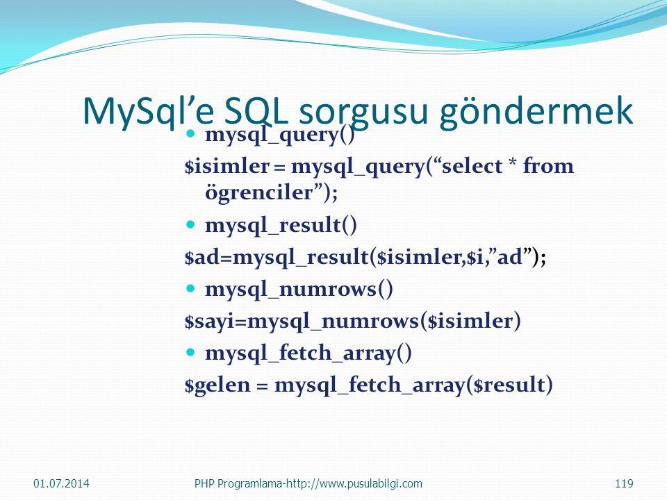 MySql'e SQL sorgusu göndermek