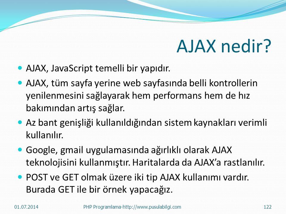 AJAX nedir AJAX, JavaScript temelli bir yapıdır.