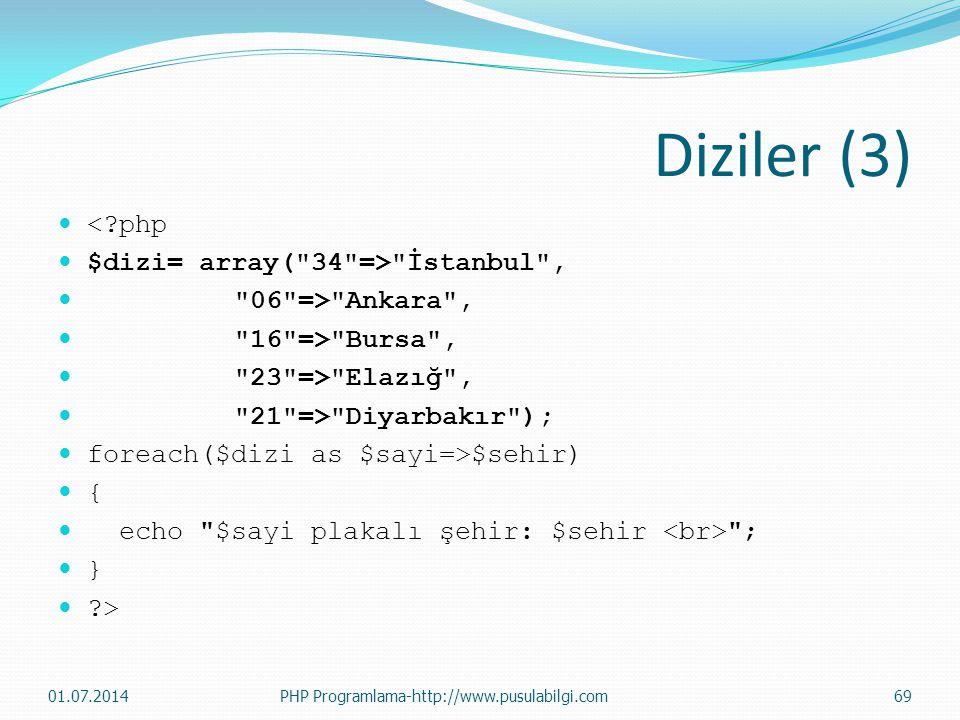Diziler (3) < php $dizi= array( 34 => İstanbul ,