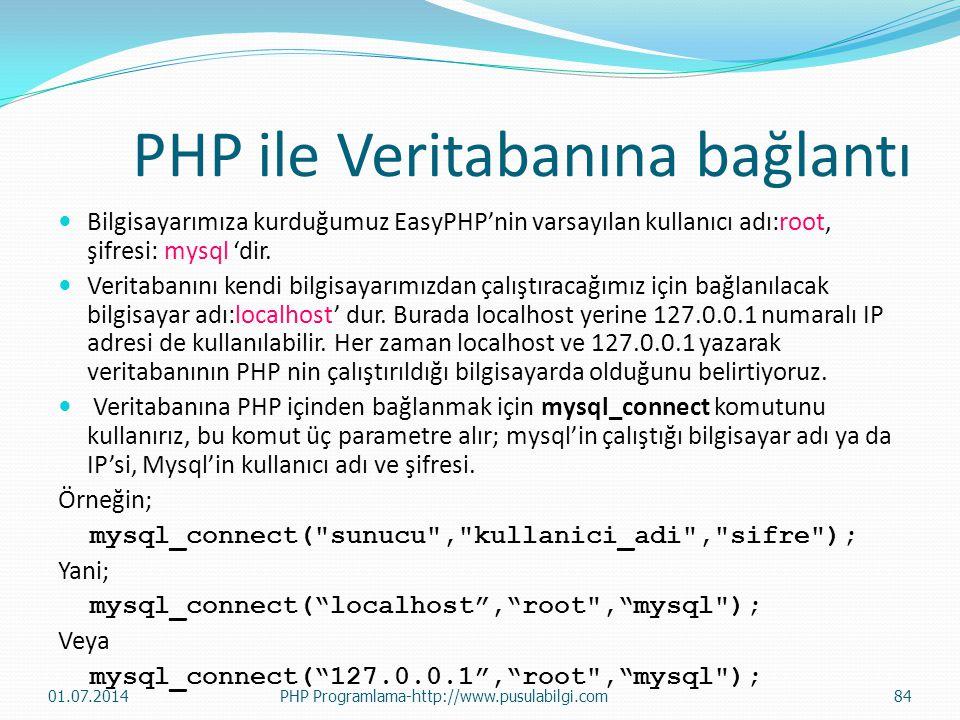 PHP ile Veritabanına bağlantı