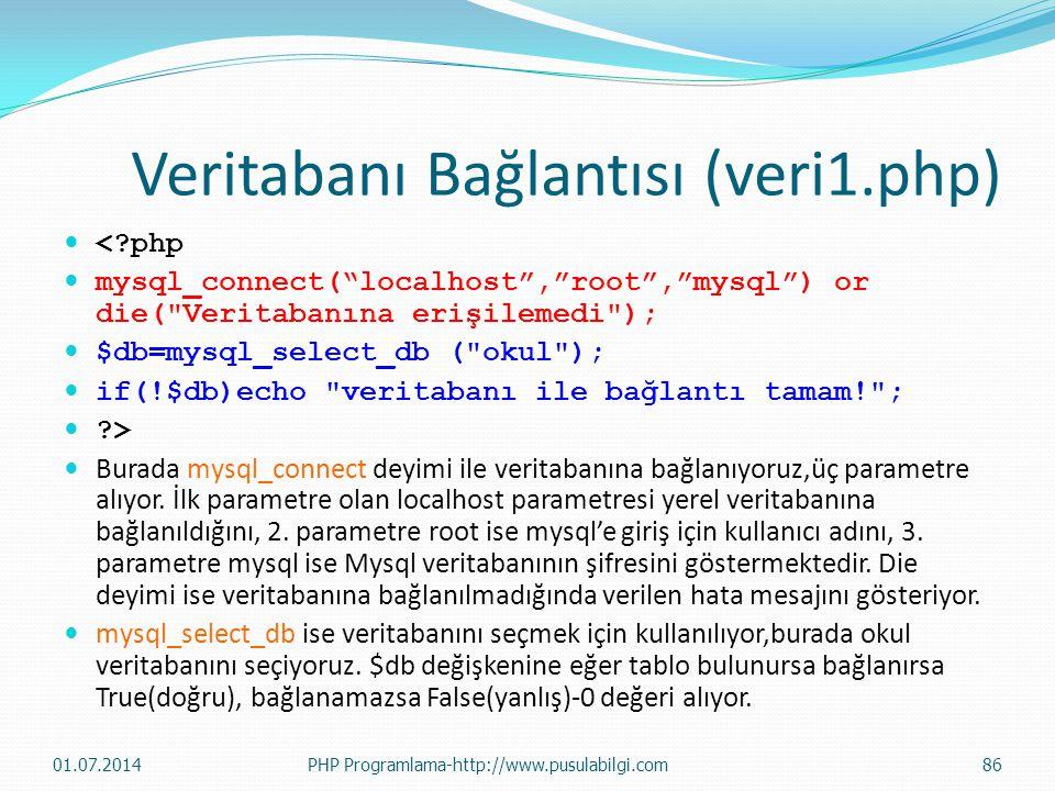 Veritabanı Bağlantısı (veri1.php)