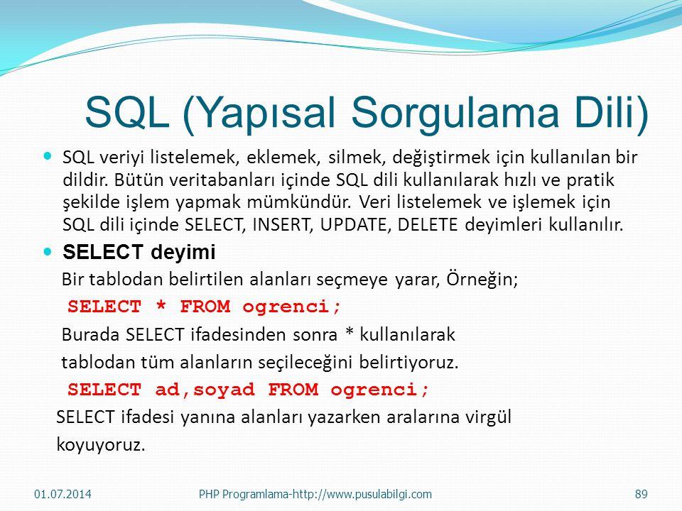 SQL (Yapısal Sorgulama Dili)