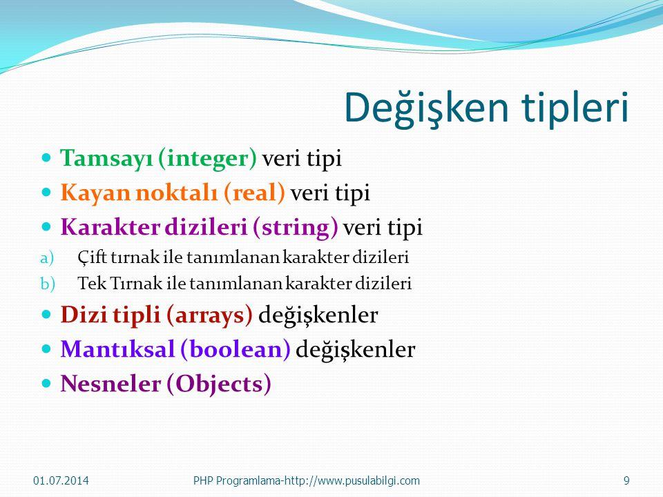 Değişken tipleri Tamsayı (integer) veri tipi