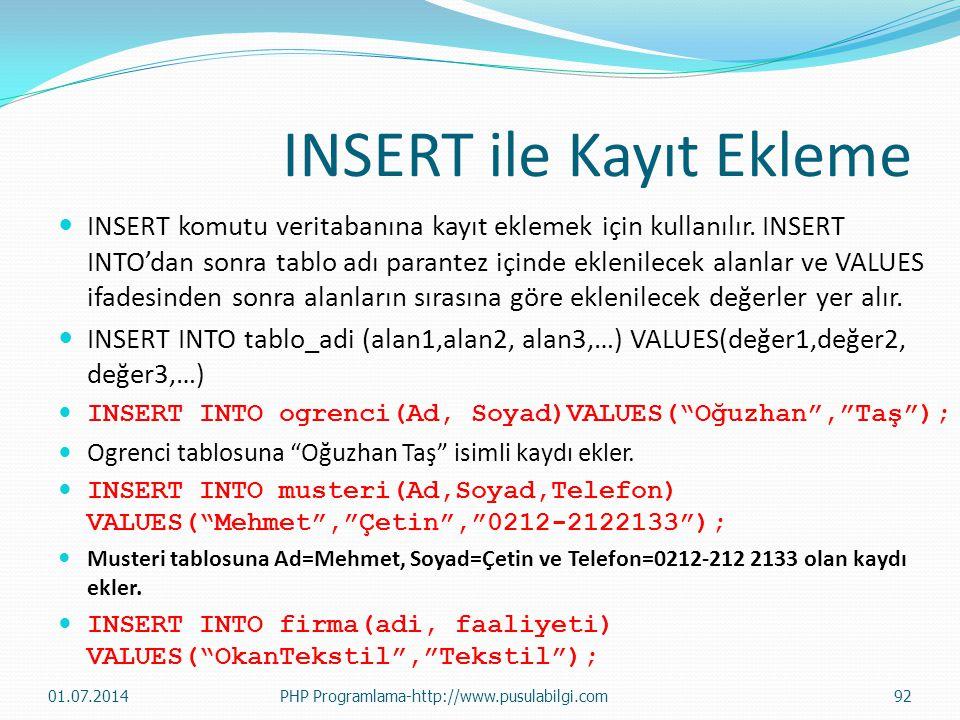 INSERT ile Kayıt Ekleme