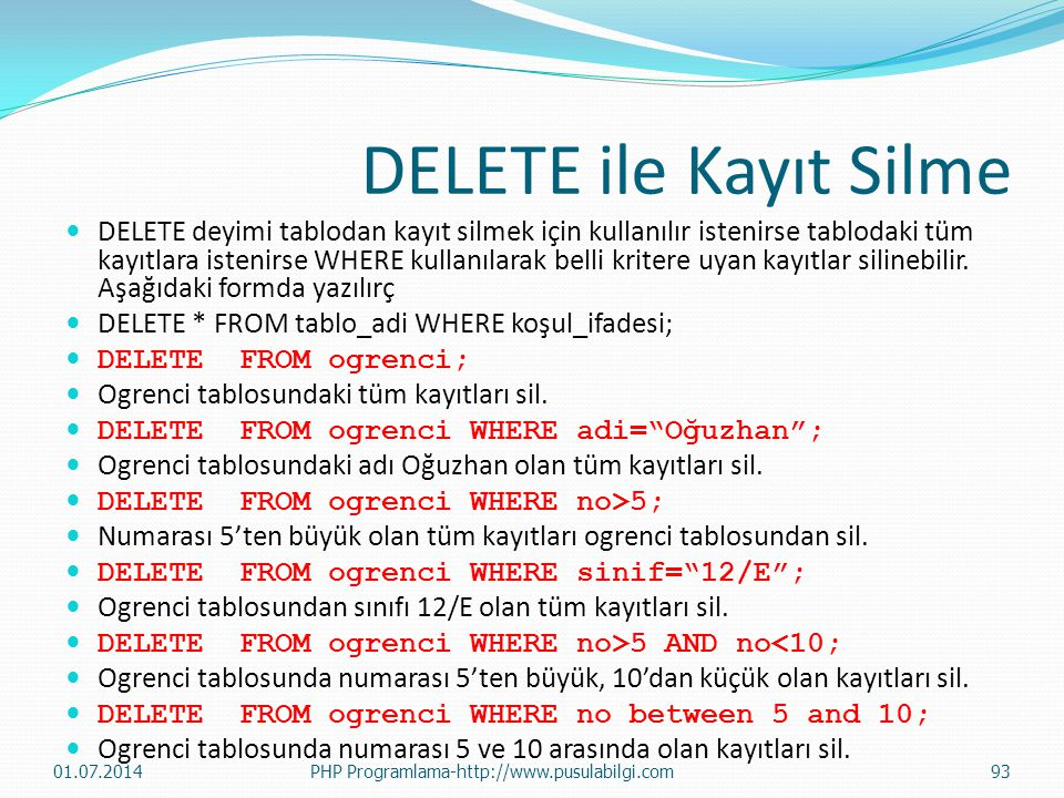 DELETE ile Kayıt Silme