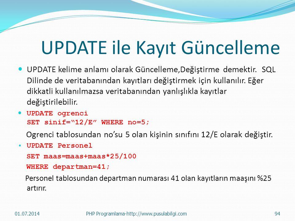 UPDATE ile Kayıt Güncelleme