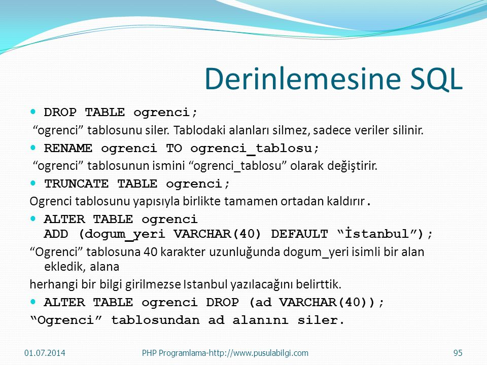 Derinlemesine SQL DROP TABLE ogrenci;