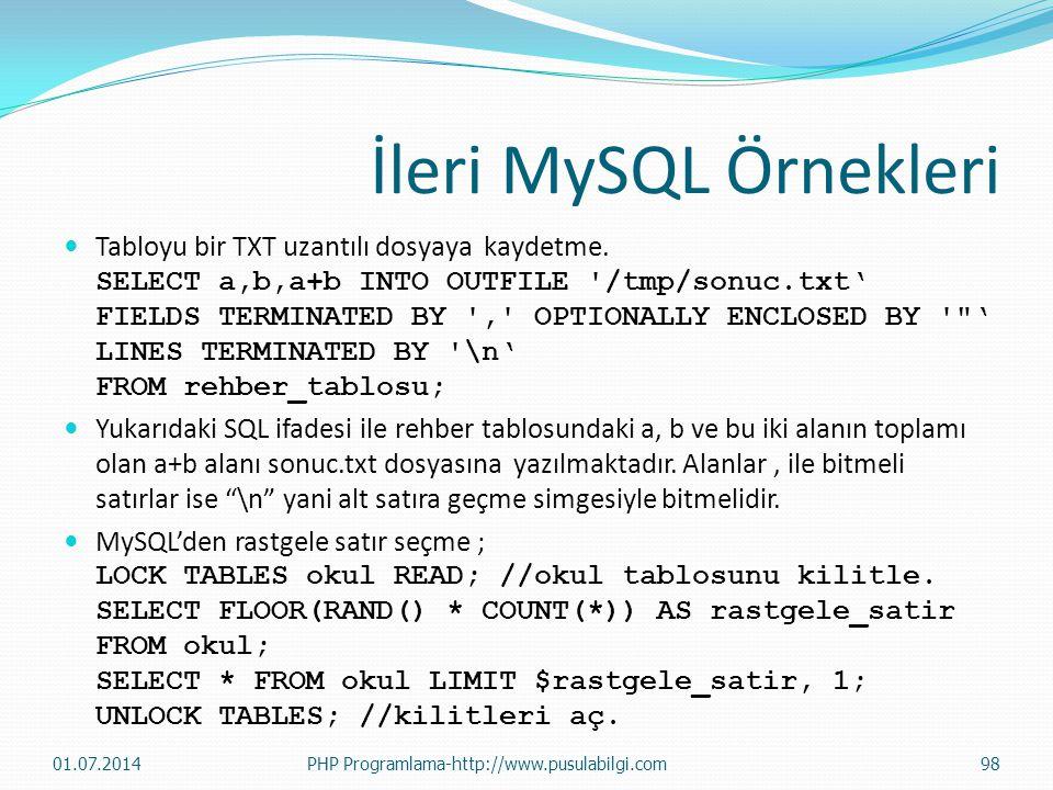 İleri MySQL Örnekleri