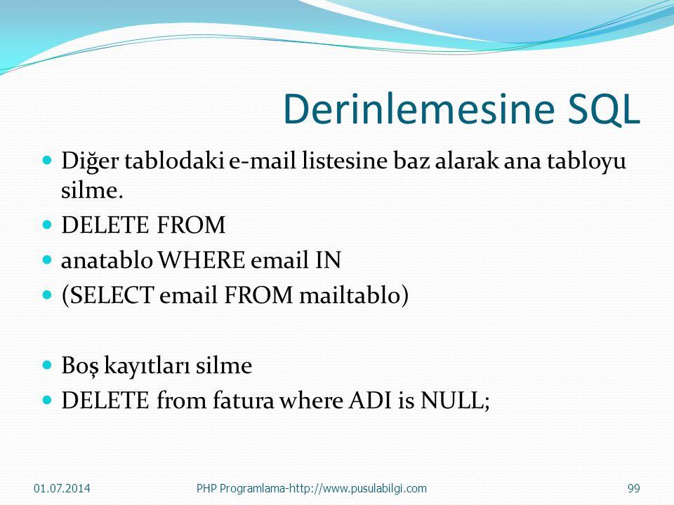 Derinlemesine SQL Diğer tablodaki e-mail listesine baz alarak ana tabloyu silme. DELETE FROM. anatablo WHERE email IN.