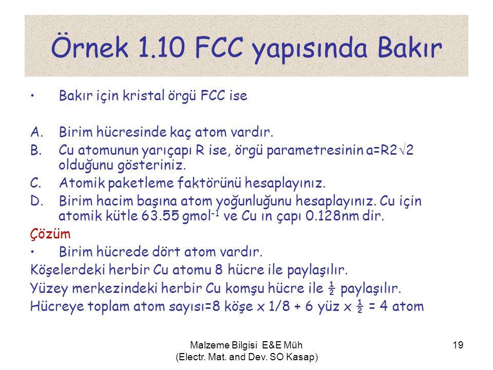 Örnek 1.10 FCC yapısında Bakır