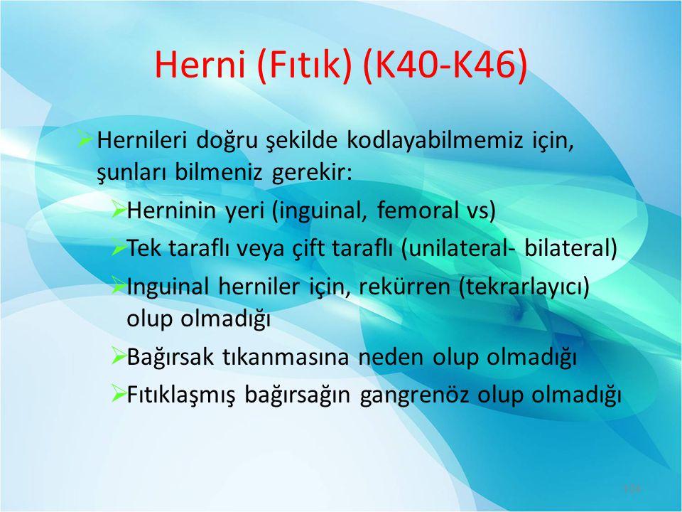 Herni (Fıtık) (K40-K46) Hernileri doğru şekilde kodlayabilmemiz için, şunları bilmeniz gerekir: Herninin yeri (inguinal, femoral vs)