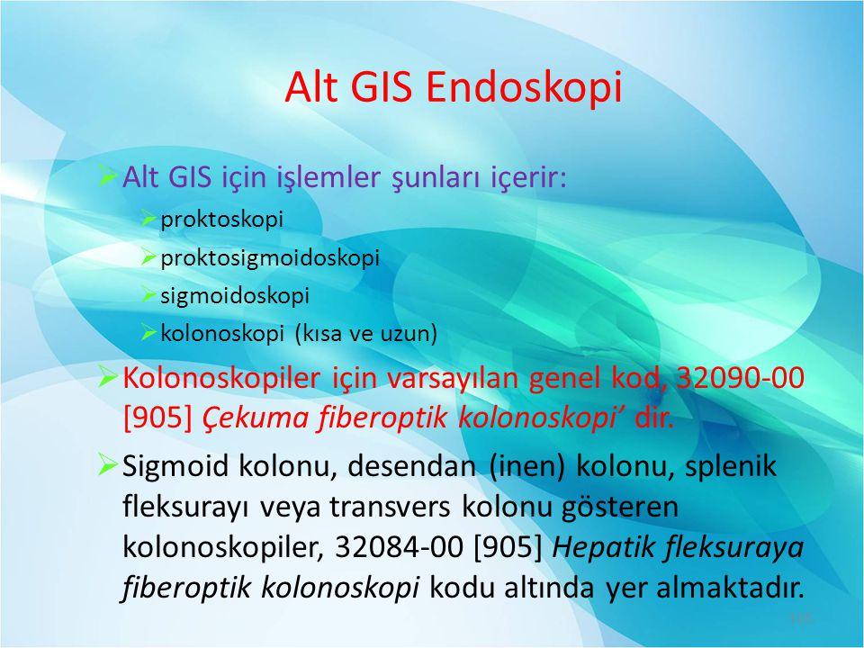 Alt GIS Endoskopi Alt GIS için işlemler şunları içerir: