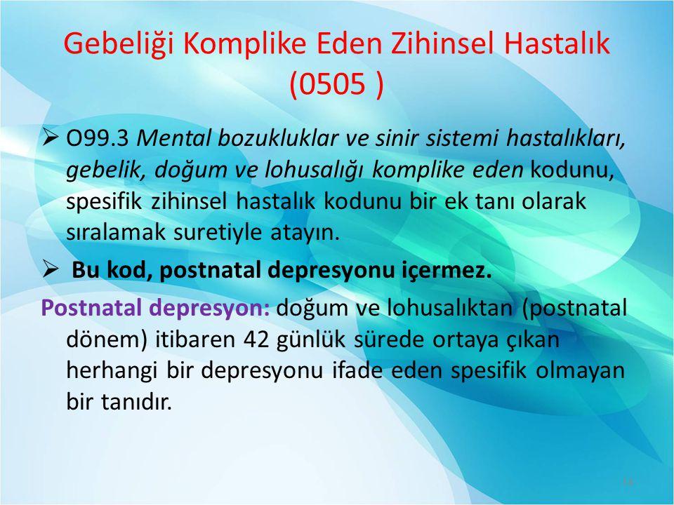Gebeliği Komplike Eden Zihinsel Hastalık (0505 )