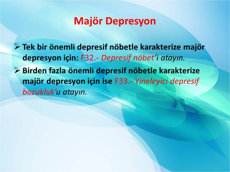 Majör Depresyon Tek bir önemli depresif nöbetle karakterize majör depresyon için: F32.- Depresif nöbet'i atayın.