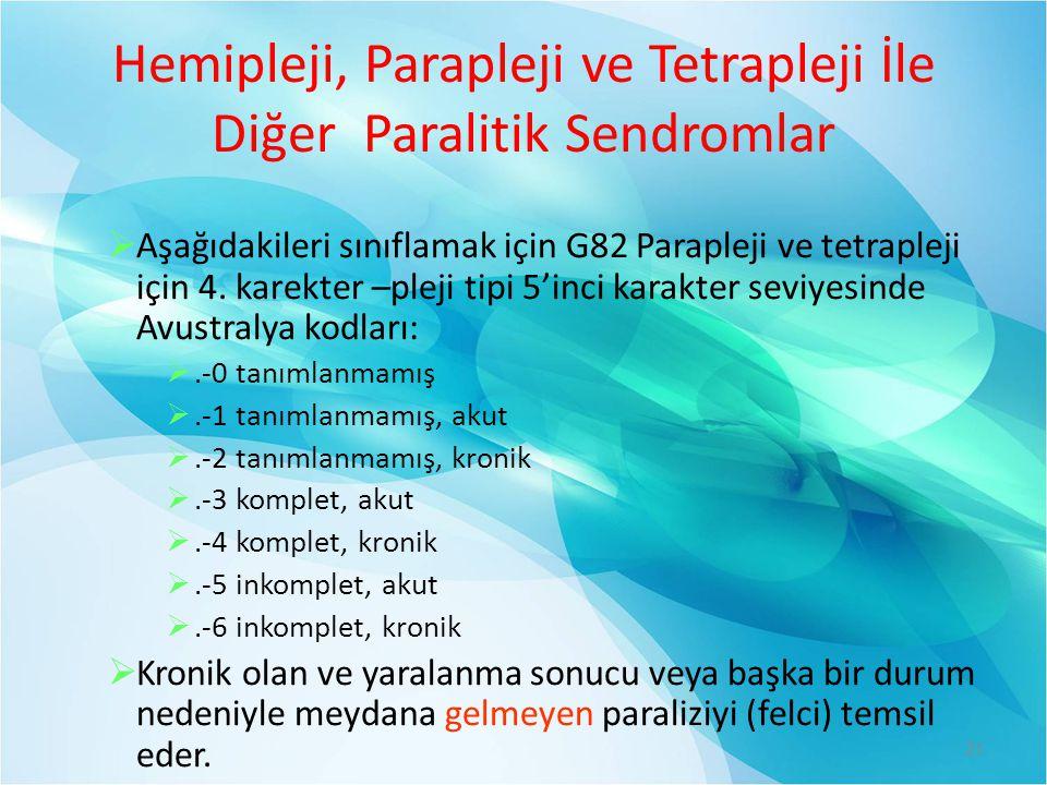 Hemipleji, Parapleji ve Tetrapleji İle Diğer Paralitik Sendromlar
