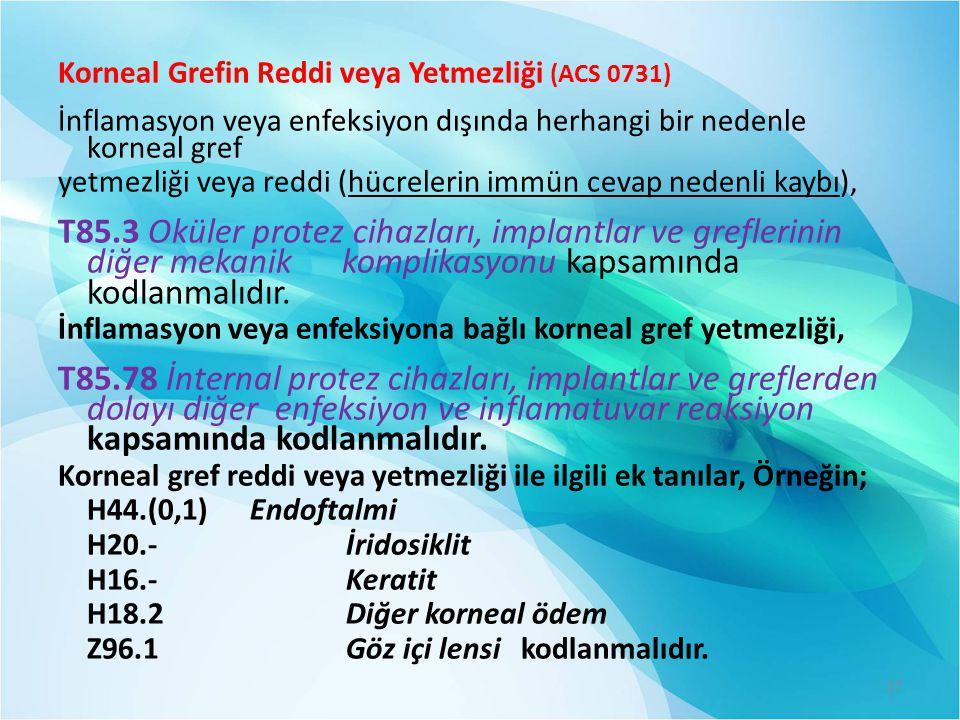 Korneal Grefin Reddi veya Yetmezliği (ACS 0731)