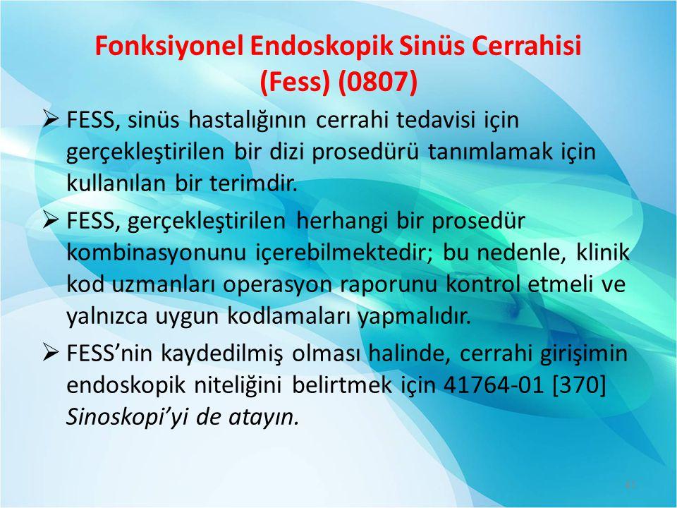 Fonksiyonel Endoskopik Sinüs Cerrahisi (Fess) (0807)