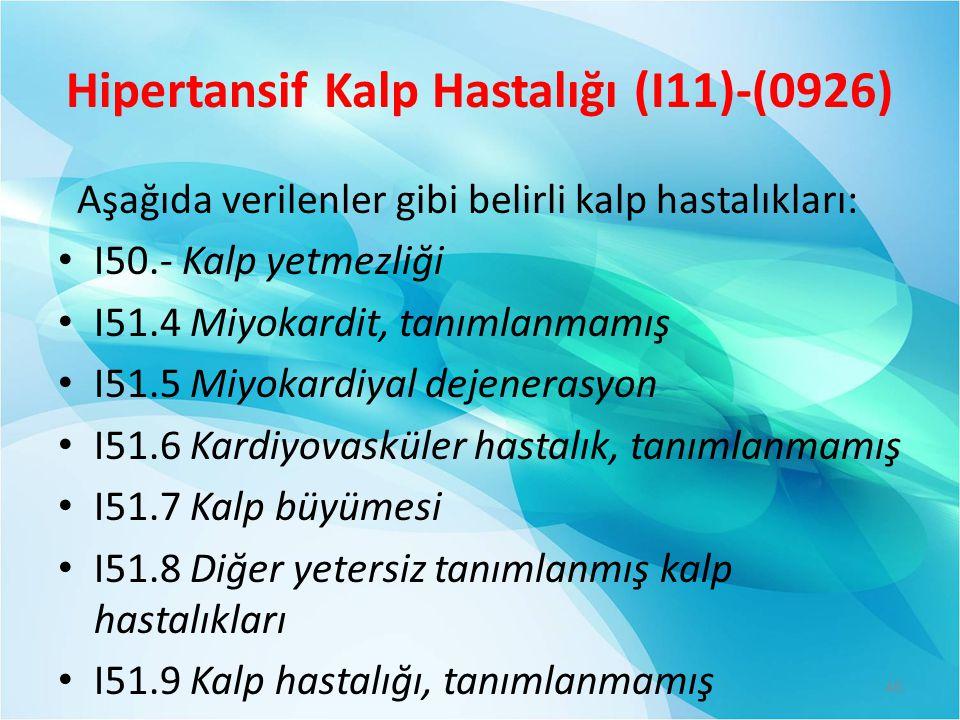 Hipertansif Kalp Hastalığı (I11)-(0926)