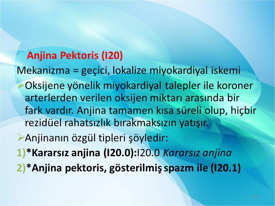 Anjina Pektoris (I20) Mekanizma = geçici, lokalize miyokardiyal iskemi.