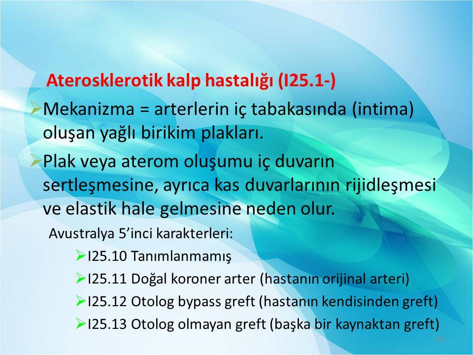 Aterosklerotik kalp hastalığı (I25.1-)