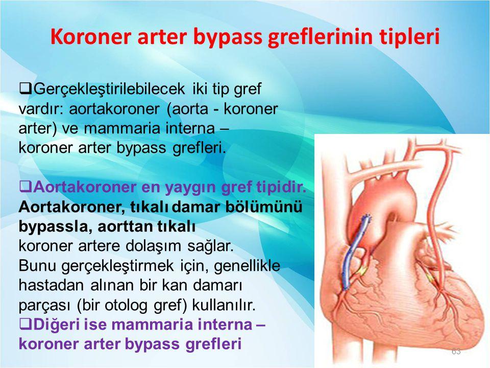 Koroner arter bypass greflerinin tipleri