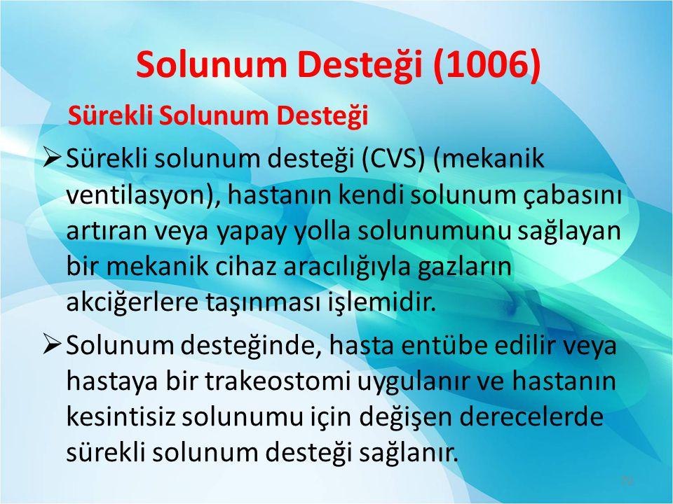 Solunum Desteği (1006) Sürekli Solunum Desteği