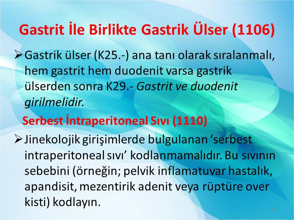 Gastrit İle Birlikte Gastrik Ülser (1106)
