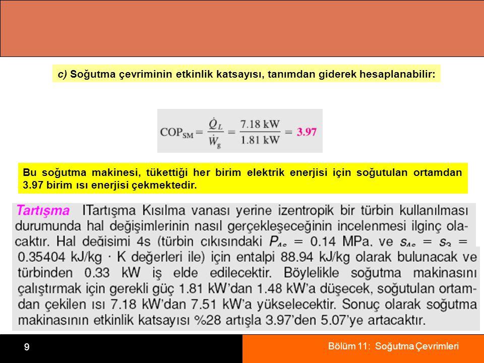 c) Soğutma çevriminin etkinlik katsayısı, tanımdan giderek hesaplanabilir: