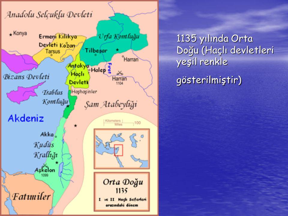 1135 yılında Orta Doğu (Haçlı devletleri yeşil renkle gösterilmiştir)
