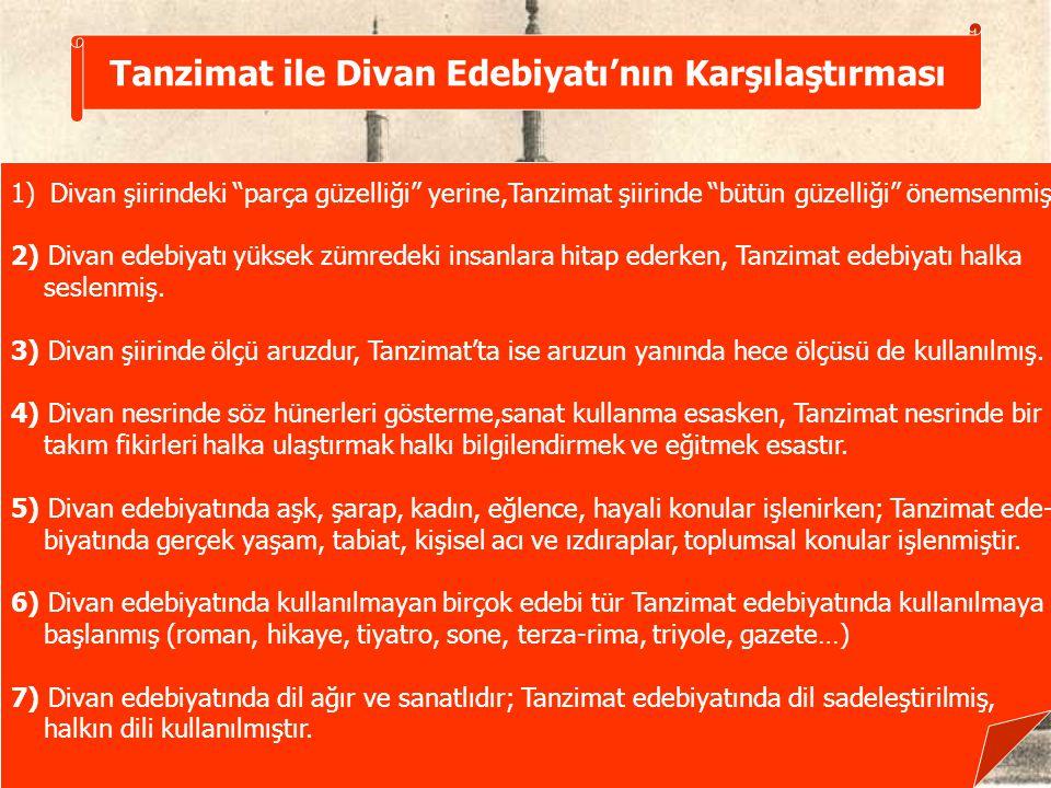 Tanzimat ile Divan Edebiyatı'nın Karşılaştırması