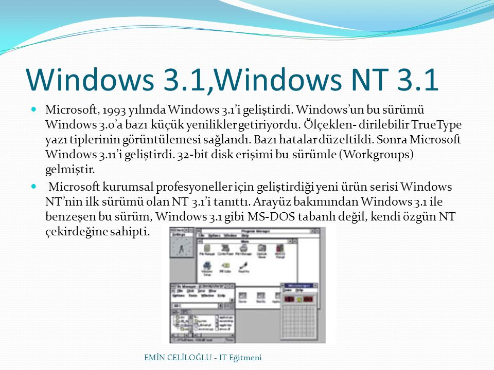 Windows 3.1,Windows NT 3.1