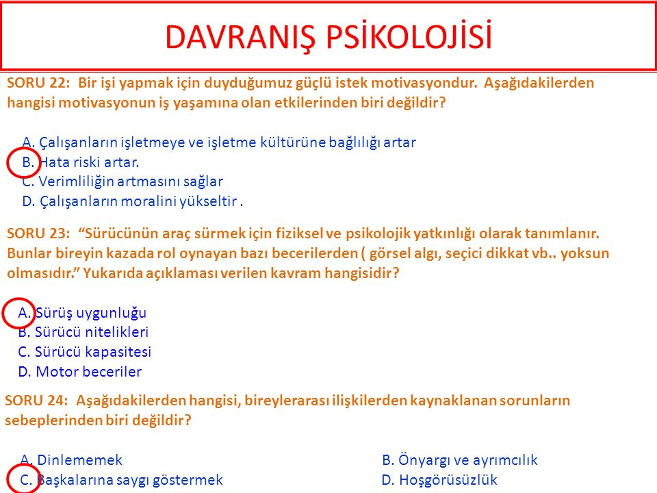 DAVRANIŞ PSİKOLOJİSİ