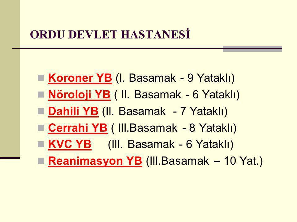 ORDU DEVLET HASTANESİ Koroner YB (I. Basamak - 9 Yataklı)