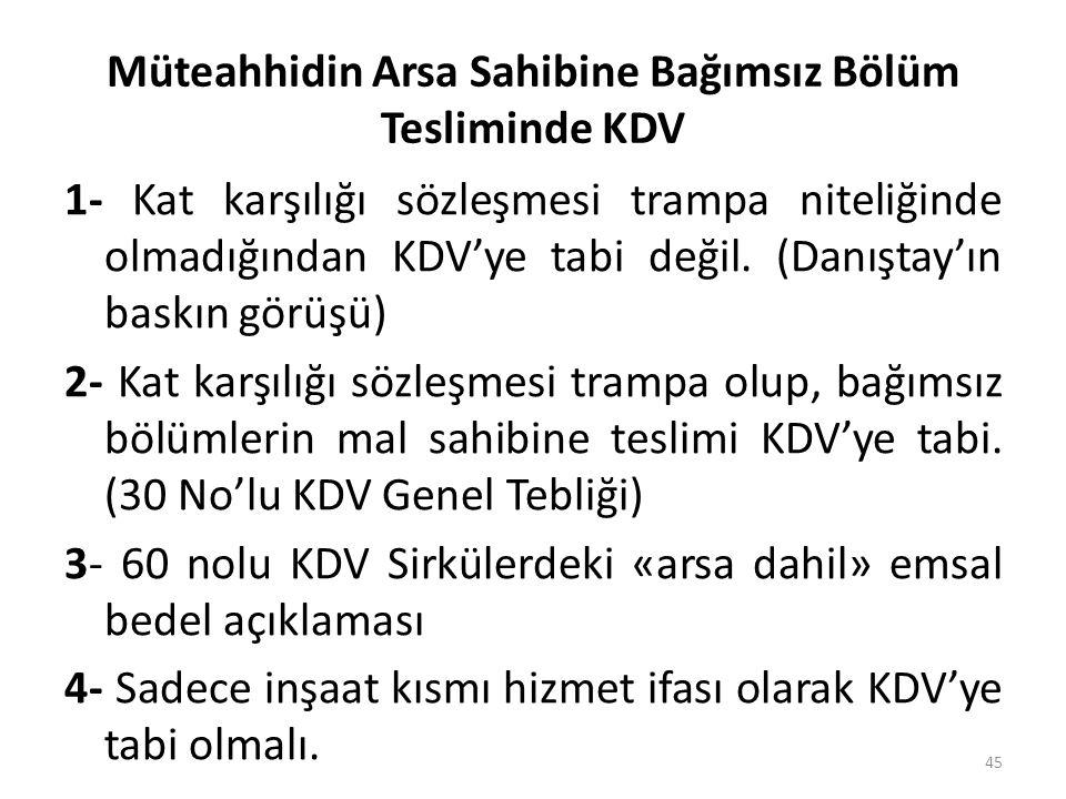 Müteahhidin Arsa Sahibine Bağımsız Bölüm Tesliminde KDV