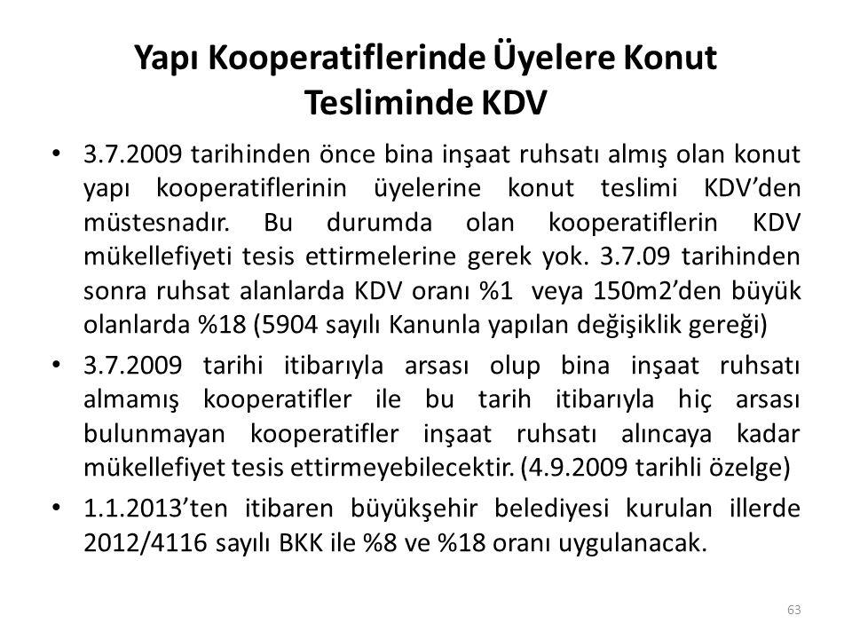 Yapı Kooperatiflerinde Üyelere Konut Tesliminde KDV